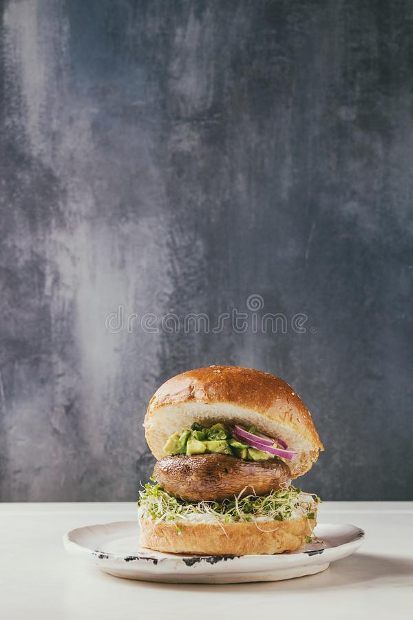 Domowej roboty weganinu hamburger fotografia stock