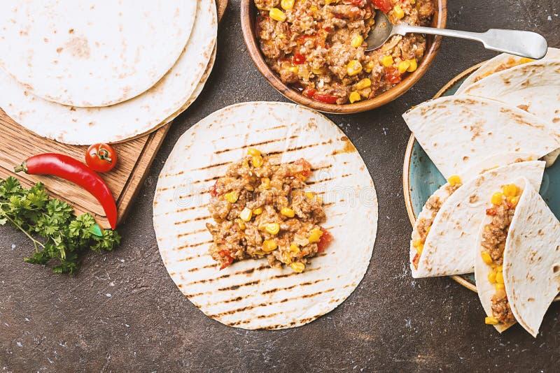 Domowej roboty wołowiny mięsa fajitas zdjęcie stock