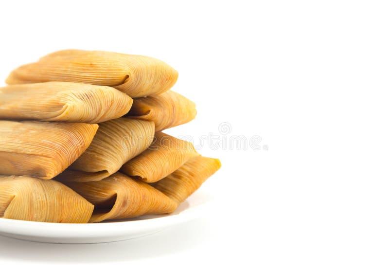 Domowej roboty Zawijający tamales na talerzu zdjęcie stock