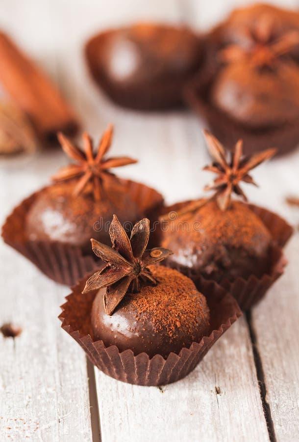 Domowej roboty zdrowego weganinu czekoladowe trufle obrazy royalty free