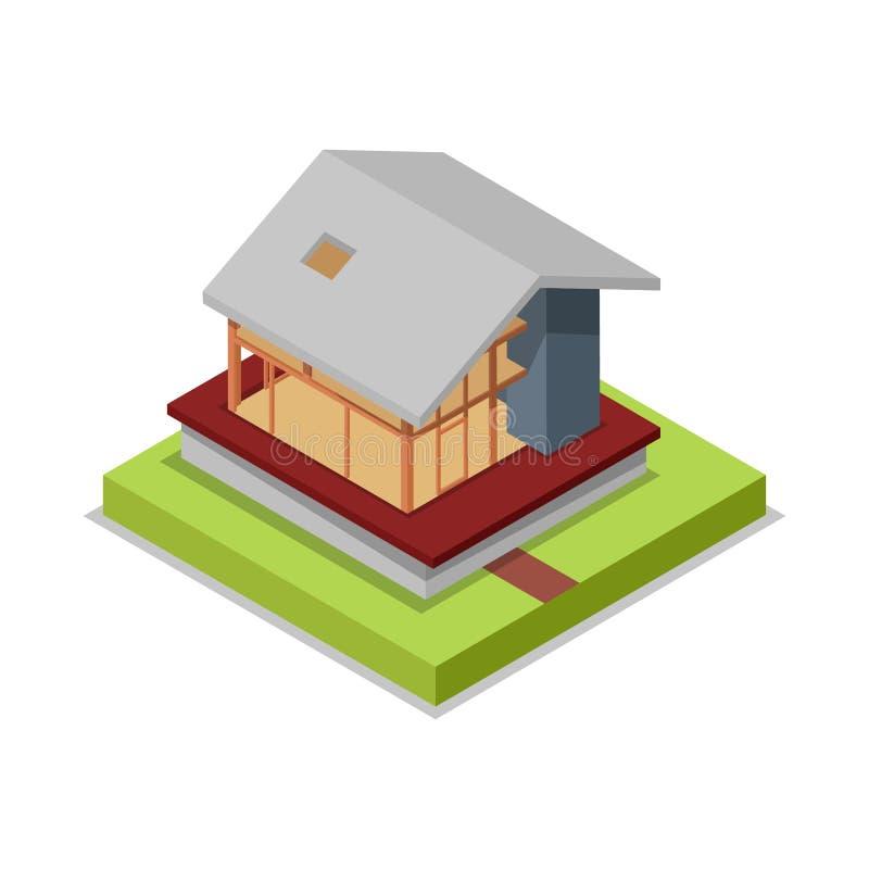 Domowej struktury isometric 3D ikona ilustracja wektor