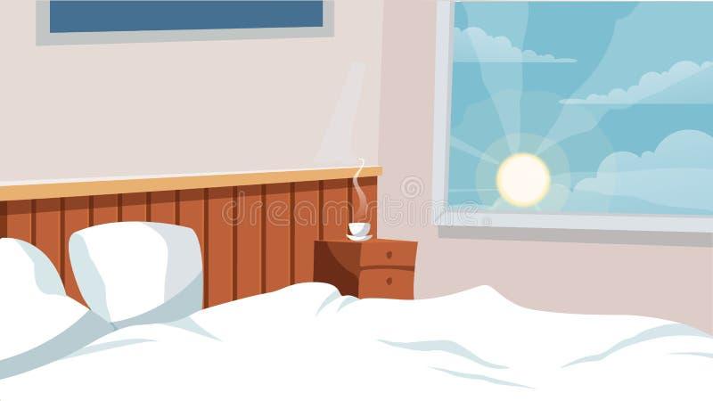 Domowej sypialni wewnętrzny Wektorowy tło dla kreskówki, animacja, reklamuje, prowadzi kampanię, ilustracja wektor
