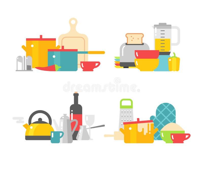 Domowi kitchenware przyrząda w kolor wektorowej płaskiej ilustraci ilustracji