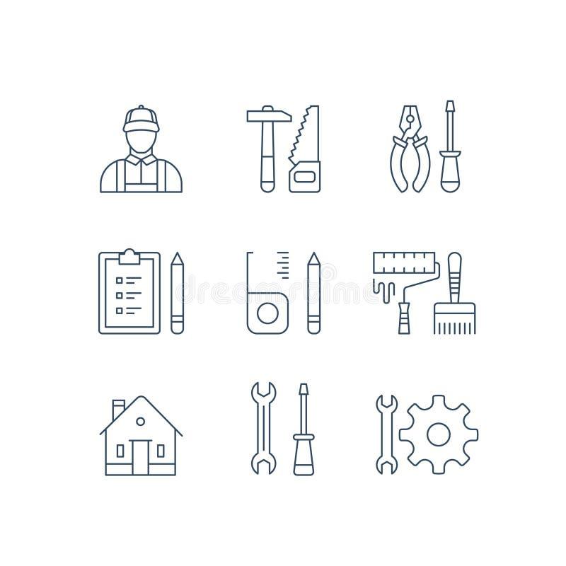 Domowi napraw narzędzia, domowego ulepszenia pracownik, odświeżania wyposażenie, młota saw, cążki, śrubokręt, rolkowa farba i muś ilustracji