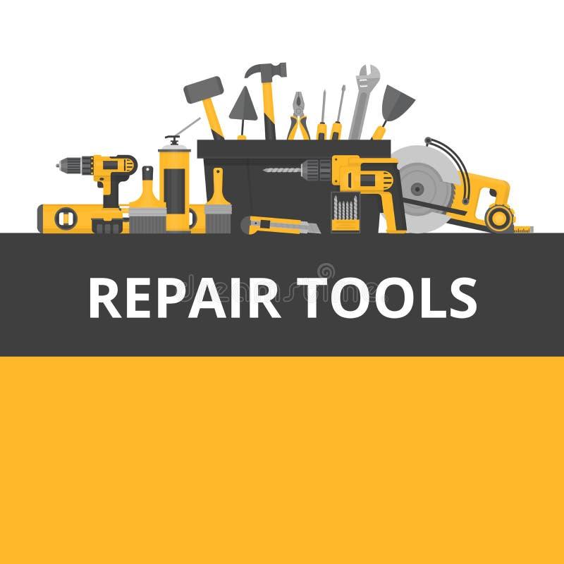 Domowi naprawa przedmioty budowa młotek narzędzia okno Ręk narzędzia dla domu ren ilustracji