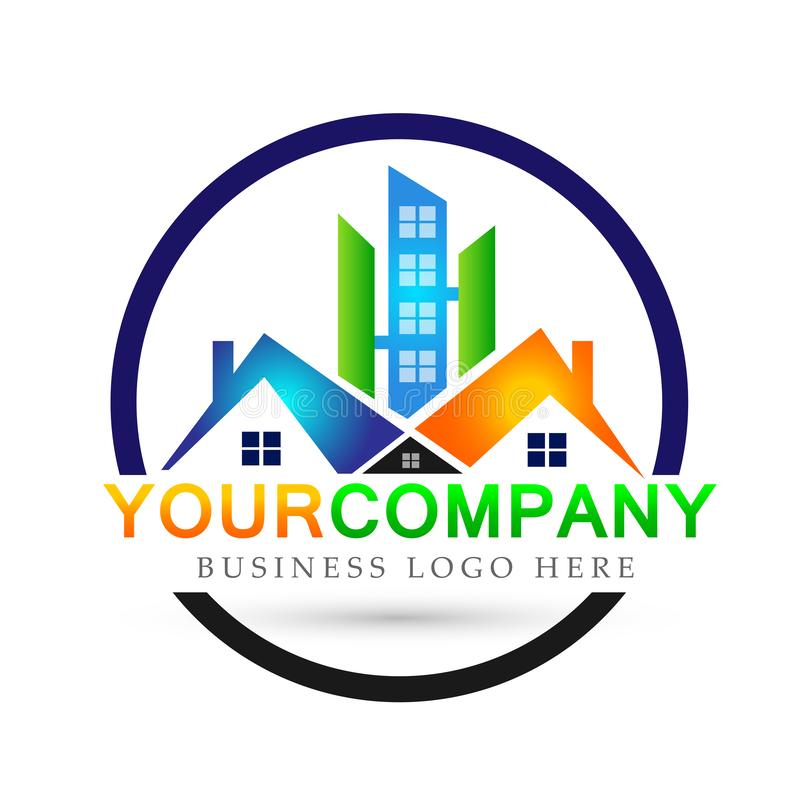 Domowi domowi nieruchomość logo budynku architektury domu ikon symbolu logo projekta na białym tle ludzie royalty ilustracja