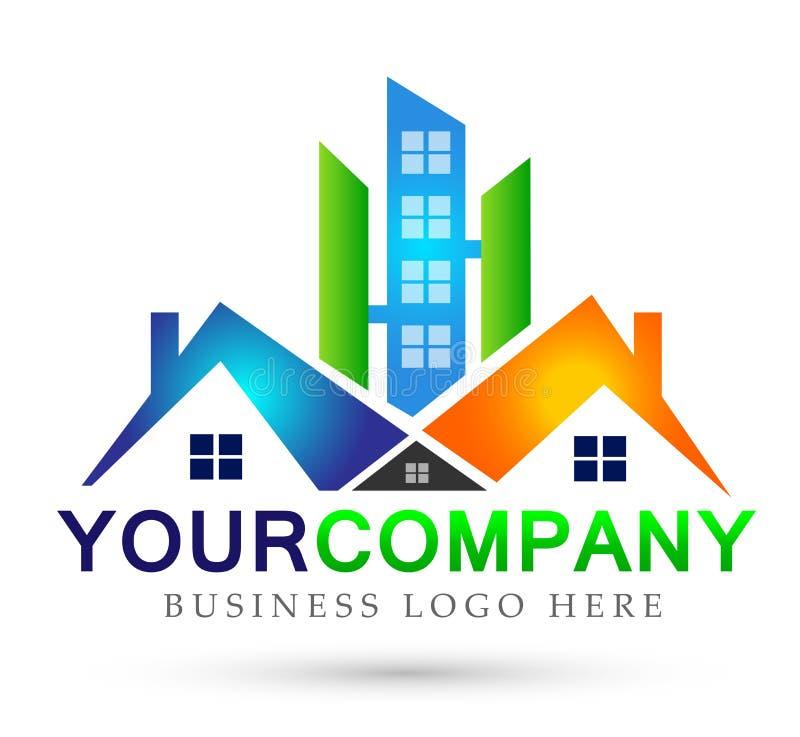 Domowi domowi nieruchomość logo budynku architektury domu ikon symbolu logo projekta na białym tle ludzie ilustracja wektor