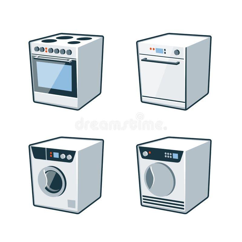 Domowi urządzenia 2 - kuchenka, zmywarka do naczyń, suszarka, pralka royalty ilustracja