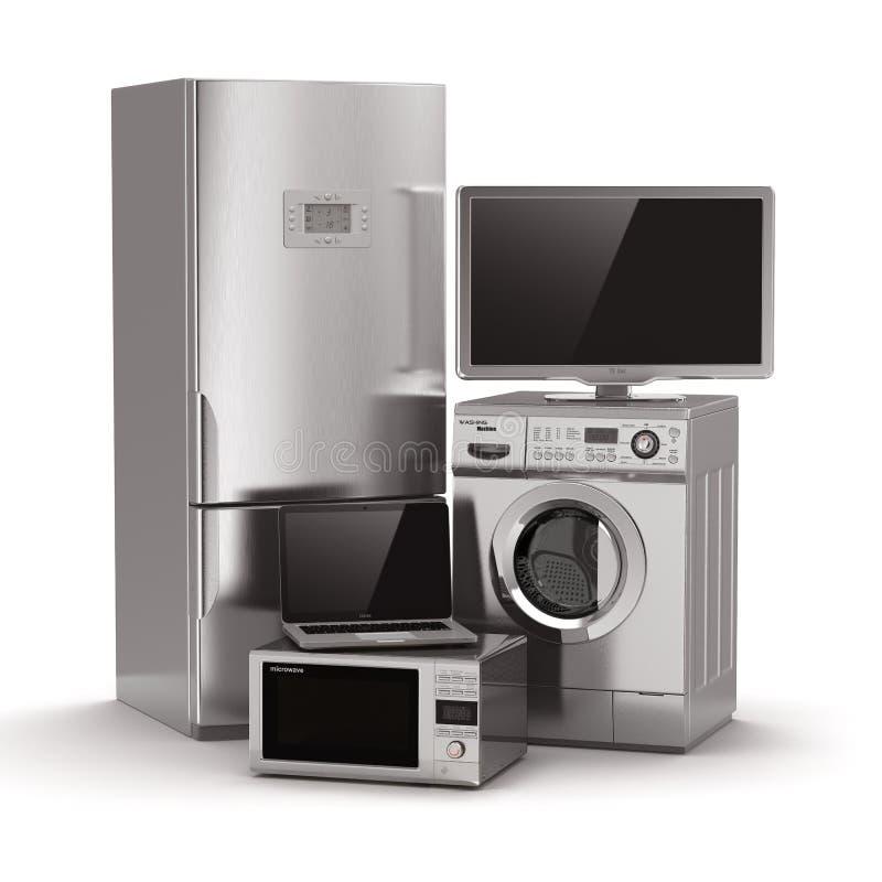 Domowi urządzenia. Tv, chłodziarka, mikrofala, laptop i washin, royalty ilustracja