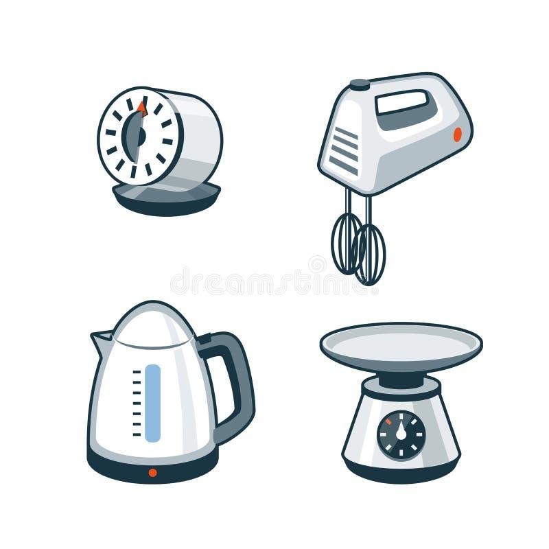 Domowi urządzenia 4 - zegar, ręka melanżer, Elektryczny czajnik, kuchnia ilustracja wektor