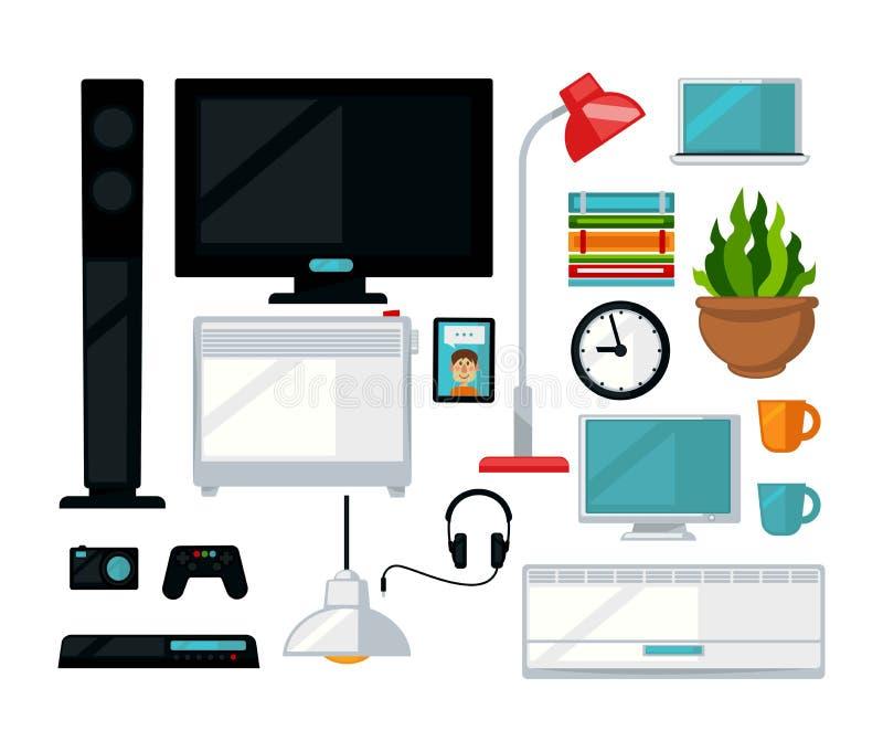 Domowy żywy izbowy wewnętrzny meble i cyfrowych urządzeń wektorowe płaskie ikony royalty ilustracja