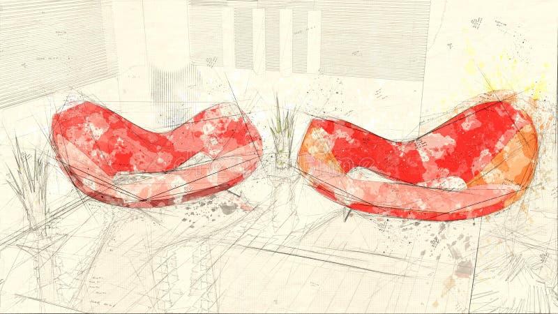 Domowy abstrakcjonistyczny wieś projekt ilustracja wektor