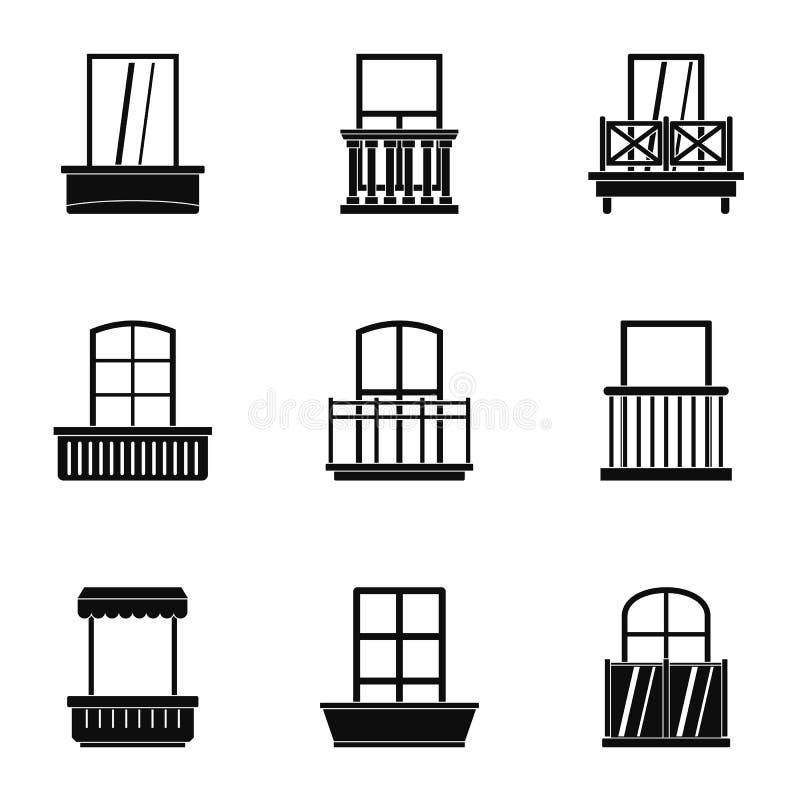 Domowy balkonowy ikona set, prosty styl royalty ilustracja