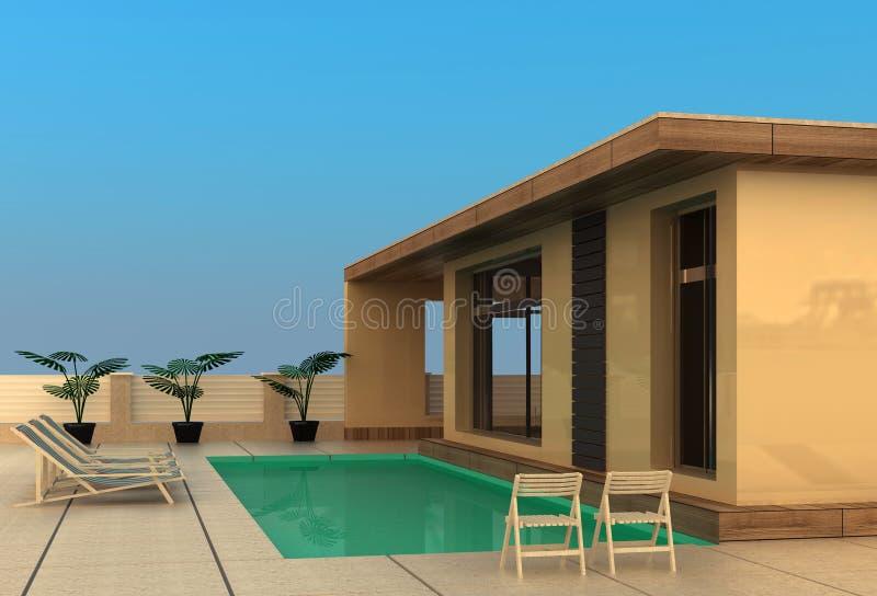 domowy basenu dopłynięcia wakacje royalty ilustracja