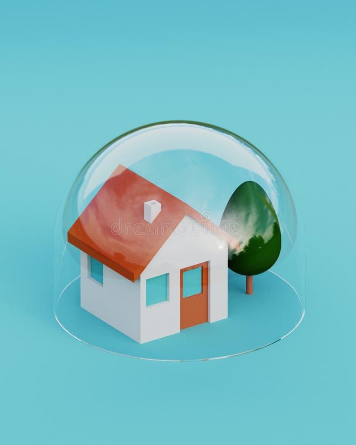 Domowy bezpieczeństwo Wzorcowy dom ochraniający pod szklaną kopułą na błękitnym tle Zbawczy i asekuracyjny pojęcie ilustracja 3 d ilustracji