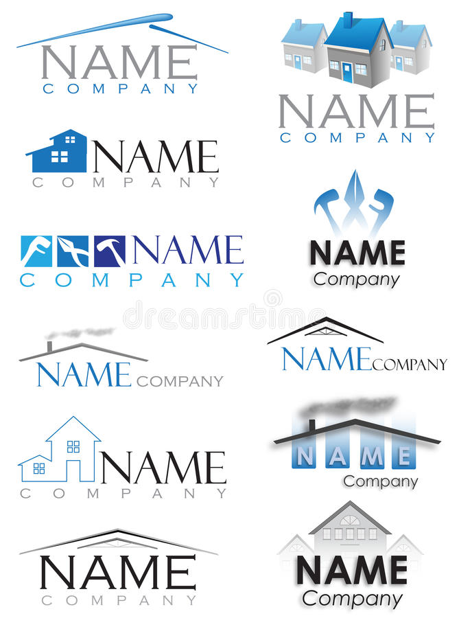 Domowy budowa logo ilustracji