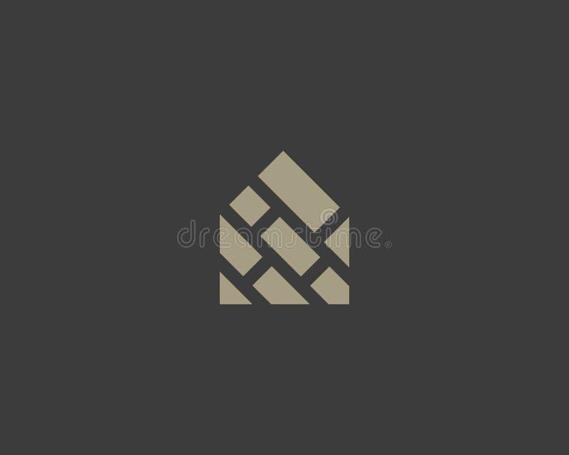 Domowy ceglany kreatywnie logotyp Abstrakta domowy wektorowy logo ilustracja wektor