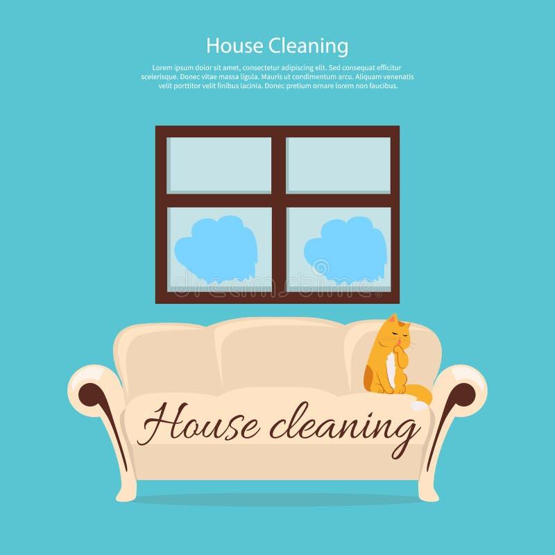Domowy cleaning Kot na kanapa projekta mieszkaniu ilustracji