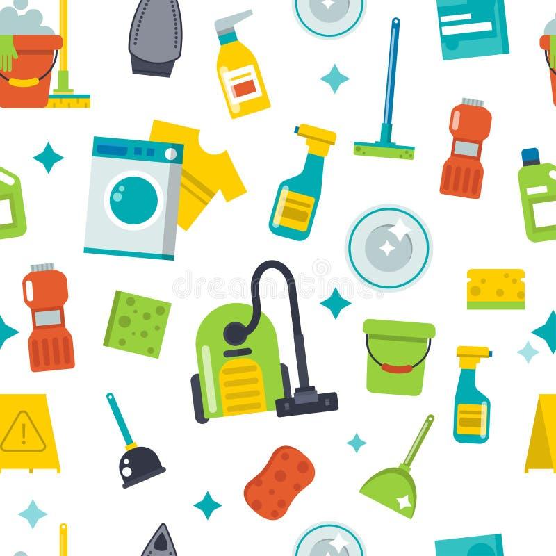 Domowy cleaning wytłacza wzory bezszwowego deseniowego tło wektor ilustracji
