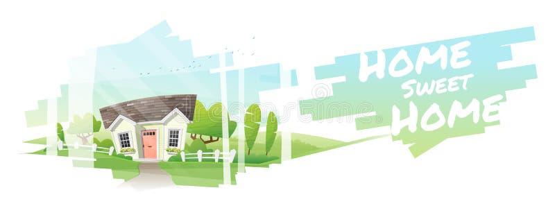 Domowy cukierki dom, Piękny wiejski krajobraz i małego domu tło, royalty ilustracja