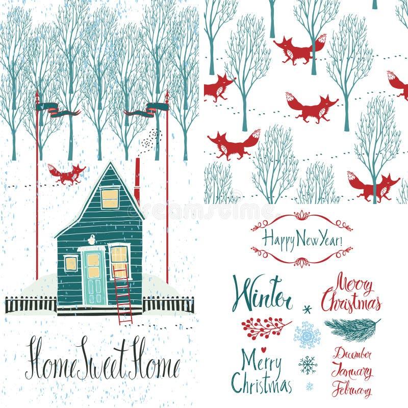 Domowy cukierki domu zimy set royalty ilustracja