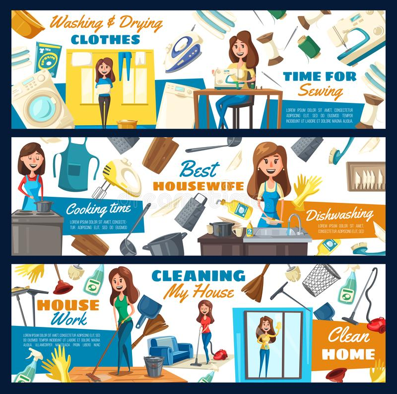 Domowy czyścić, domowa pralnia i szwalna usługa, royalty ilustracja