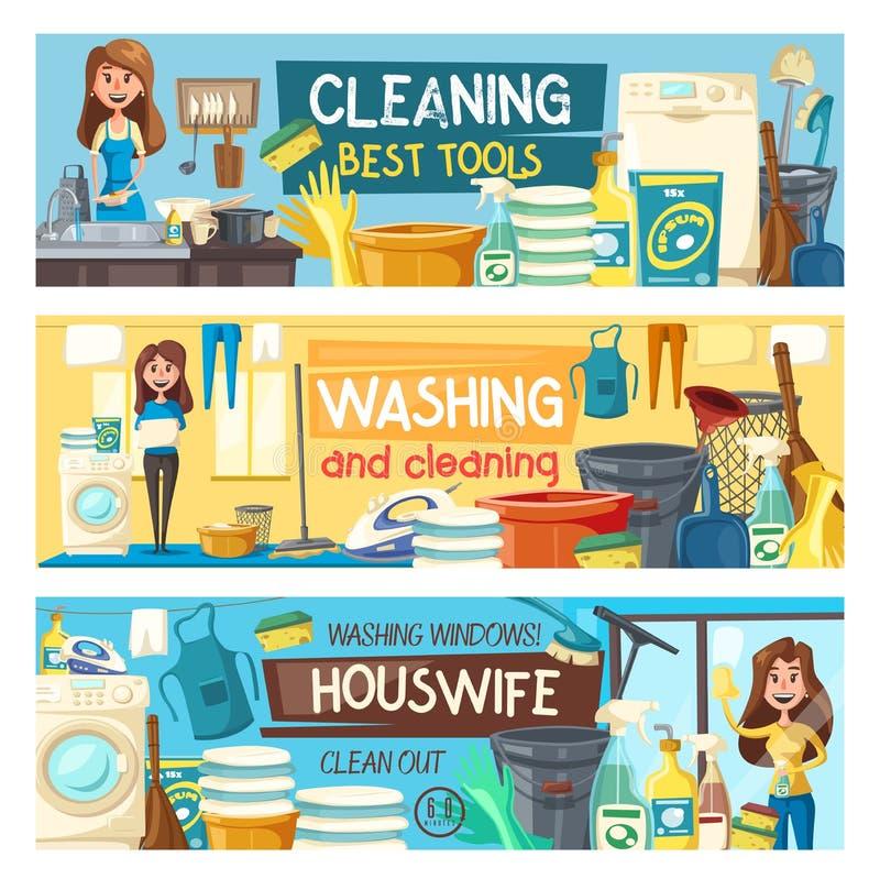 Domowy czyścić, gospodyni domowej pralni domu usługa ilustracja wektor