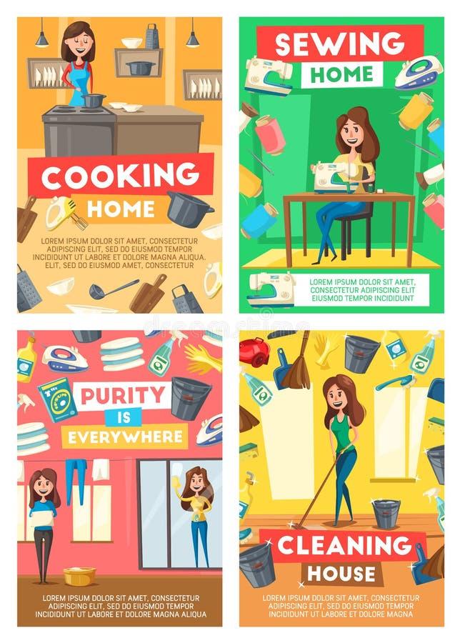 Domowy czyścić, gospodyni domowej pralnia, szwalna usługa ilustracji