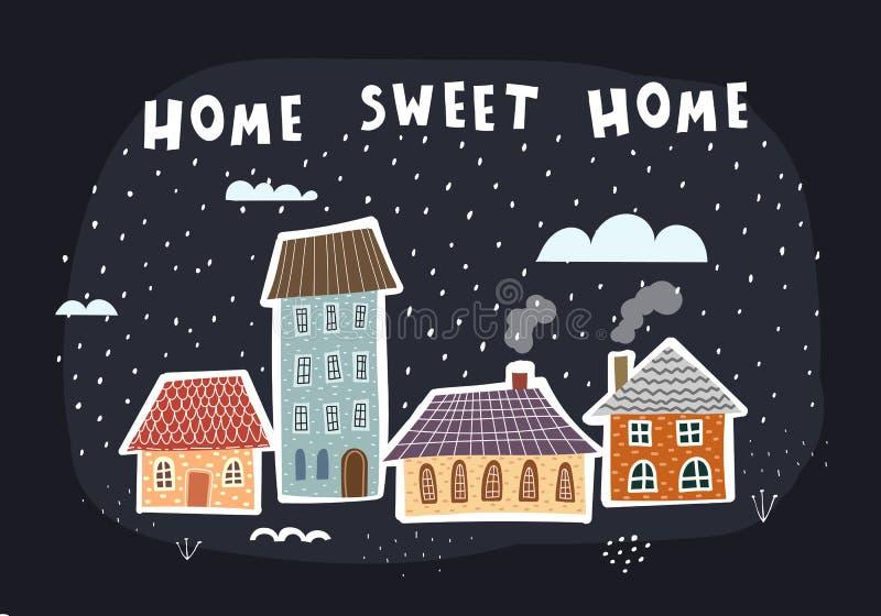 Strona główna Sweet Home domy z rysunkami, z wycinkiem ręcznym, chmury, śnieg, elementy dekoracyjne, na neutralnym tle Wektor pła ilustracji
