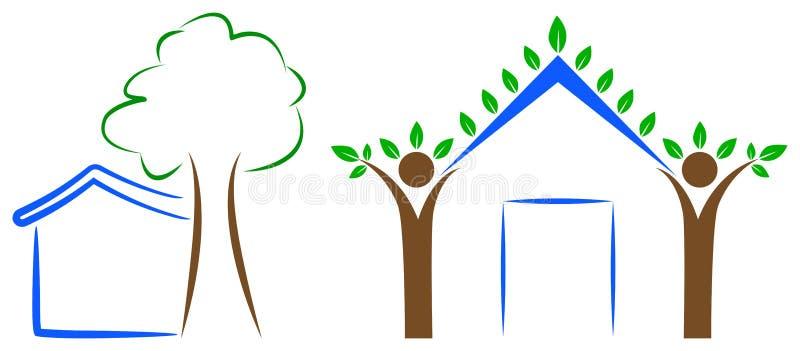 Domowy drzewny logo ilustracja wektor
