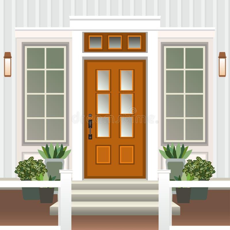 Domowy drzwi przód z progiem i kroki ganeczki, okno, lampa, kwiaty w garnku, buduje hasłową fasadę, zewnętrzny wejściowy projekt royalty ilustracja