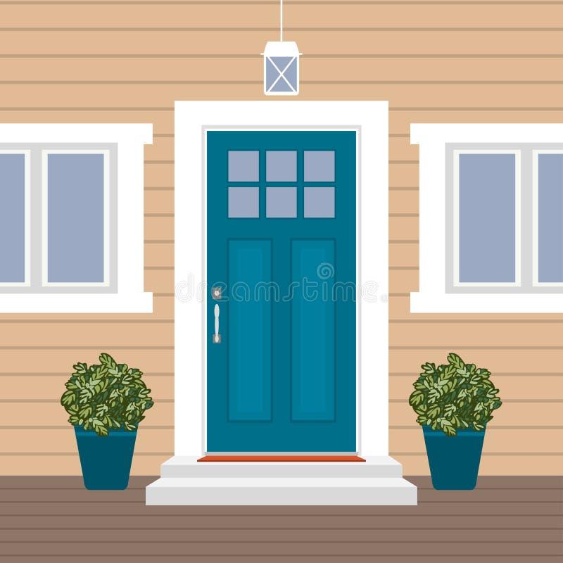 Domowy drzwi przód z progiem i matą, kroki, okno, lampa, kwiaty, buduje hasłową fasadę, zewnętrzna wejściowa projekt ilustracja royalty ilustracja