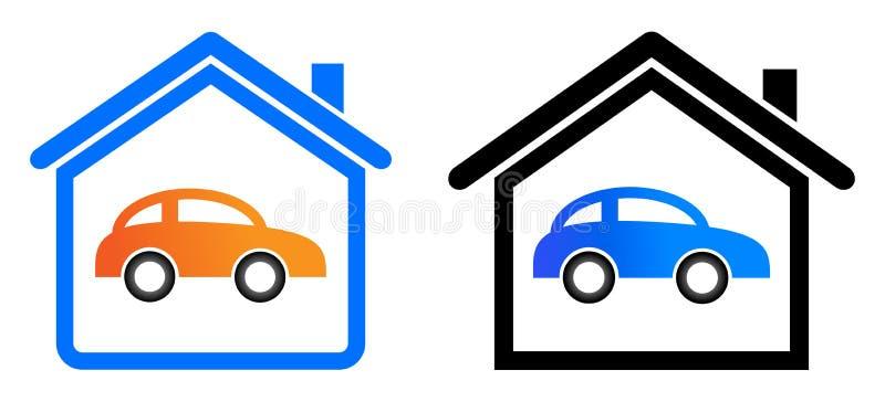 Domowy garażu logo royalty ilustracja