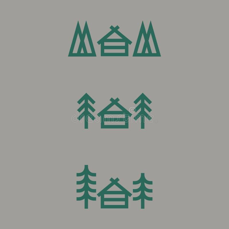 Domowy i drzewny lasowy sylwetka logo szablon ilustracja wektor