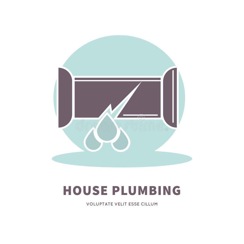 Domowy instalaci wodnokanalizacyjnej usługa reklamy logo z łamaną drymbą royalty ilustracja