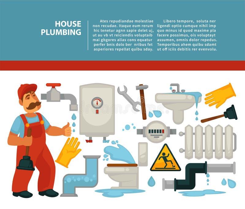 Domowy instalacja wodnokanalizacyjna hydraulik usługuje łazienki rurociągową wektorową ilustrację ilustracji