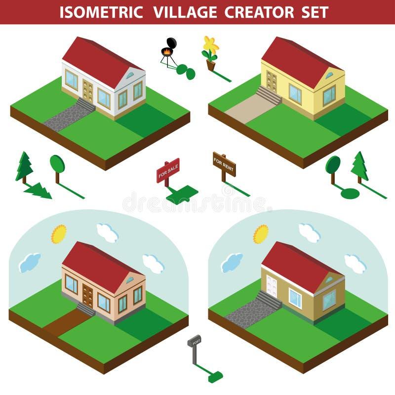 domowy isometric 3D wioski krajobrazu twórcy set ilustracji