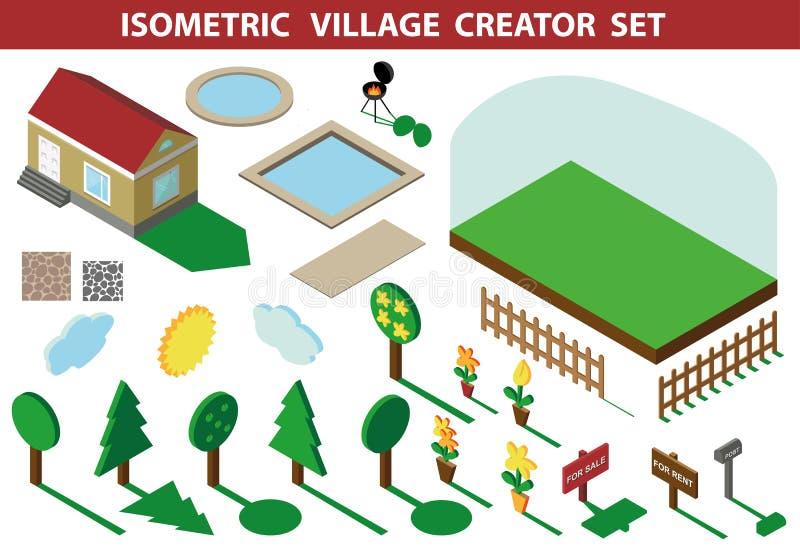 domowy isometric 3D wioski krajobrazu twórcy zestaw ilustracji