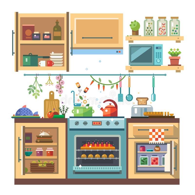 Domowy kitchenware ilustracji