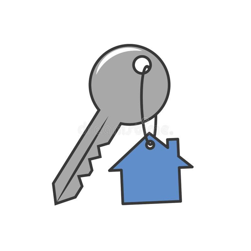 Domowy klucz z keyring breloczka ochrony ikoną royalty ilustracja