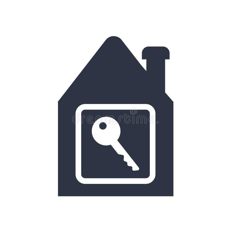 Domowy kluczowy ikona wektoru znak i symbol odizolowywający na białym tle, domu logo kluczowy pojęcie ilustracja wektor