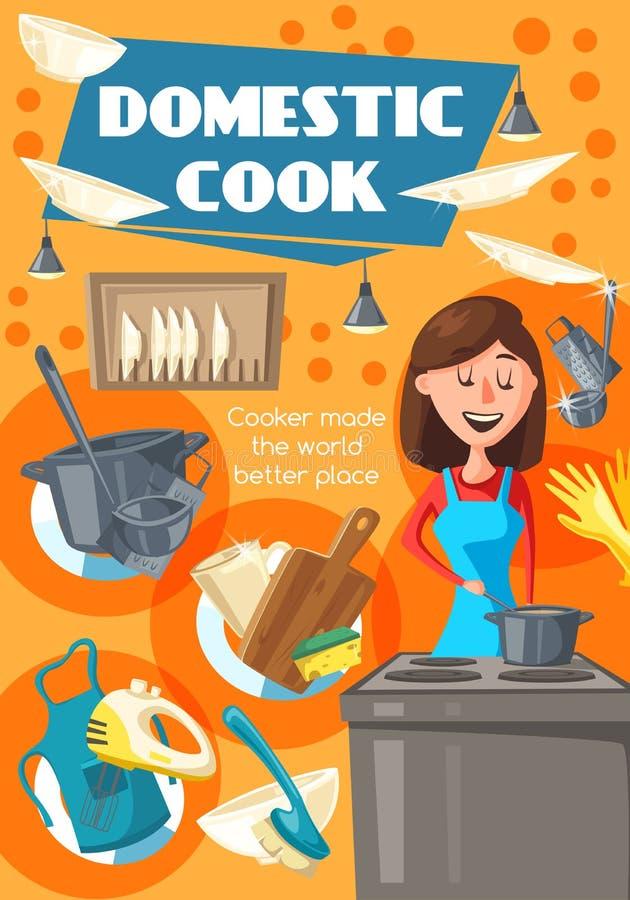Domowy kucharz, kobieta na kuchni royalty ilustracja