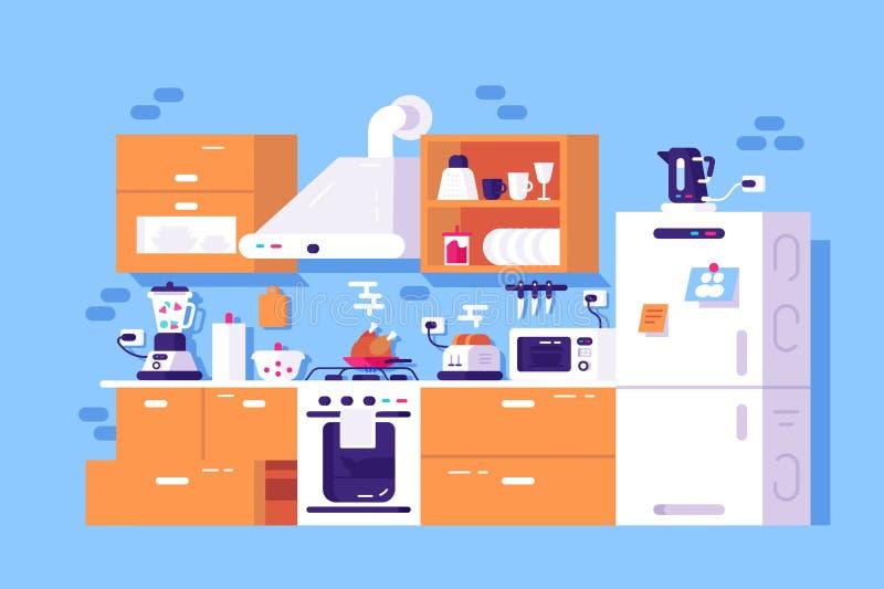 Domowy kuchenny wn?trze ilustracja wektor