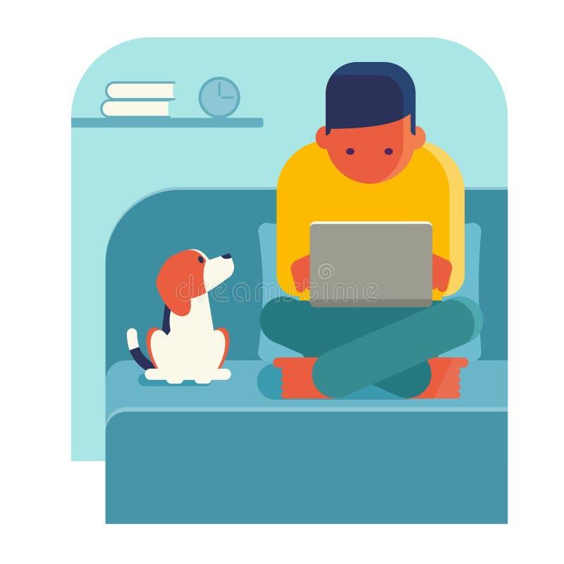 domowy laptopu mężczyzna działanie ilustracja wektor