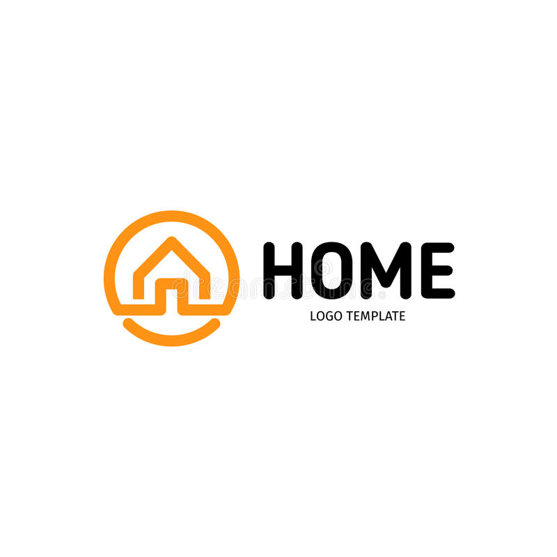 Domowy liniowy wektorowy logo Mądrze domowy kreskowej sztuki czerni i pomarańcze logotyp Kontur nieruchomości ikona royalty ilustracja