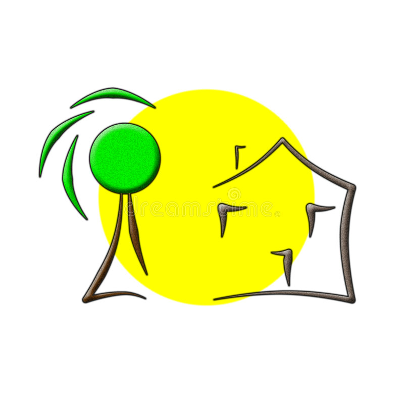 domowy loga słońca drzewo ilustracja wektor