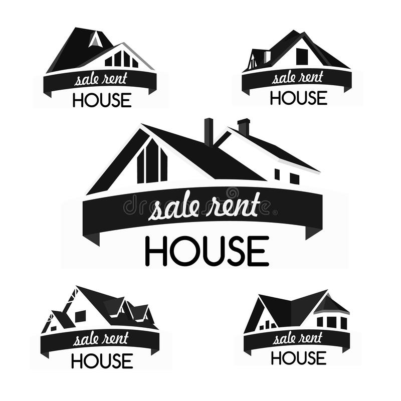 Domowy loga szablonu set ilustracji