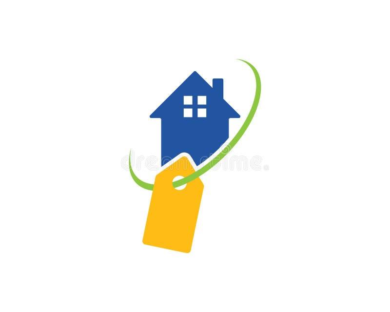 Domowy logo z pika etykietki ikoną royalty ilustracja