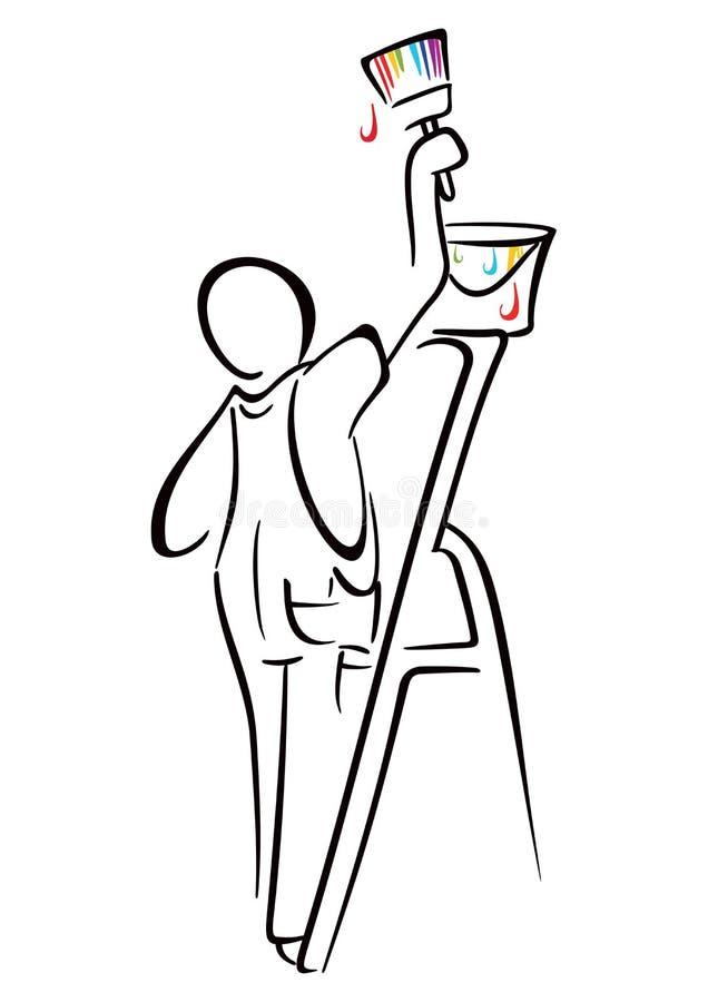 Domowy malarz ilustracja wektor