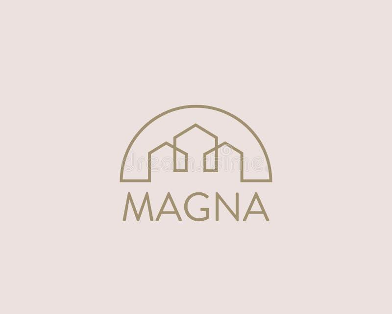 Domowy miasto wektoru logotyp Premii nieruchomości logo Linii ikony domowy symbol ilustracja wektor